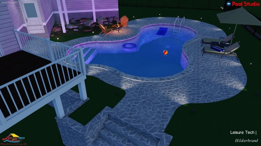 3D Pool and Deck Night Time