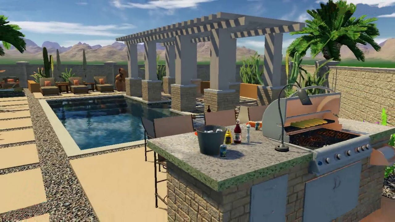 3D Swimming Pool with Outdoor Grill